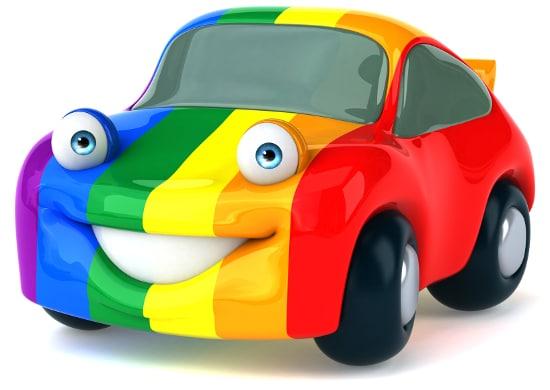 Auto in Regenbogenfarben wie Umbrellaz Design Agentur